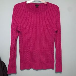 Talbots Crew Neck Long Sleeve Cable Knit Sweater